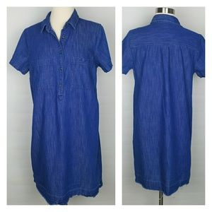 Old Navy released hem bright blue denim dress M